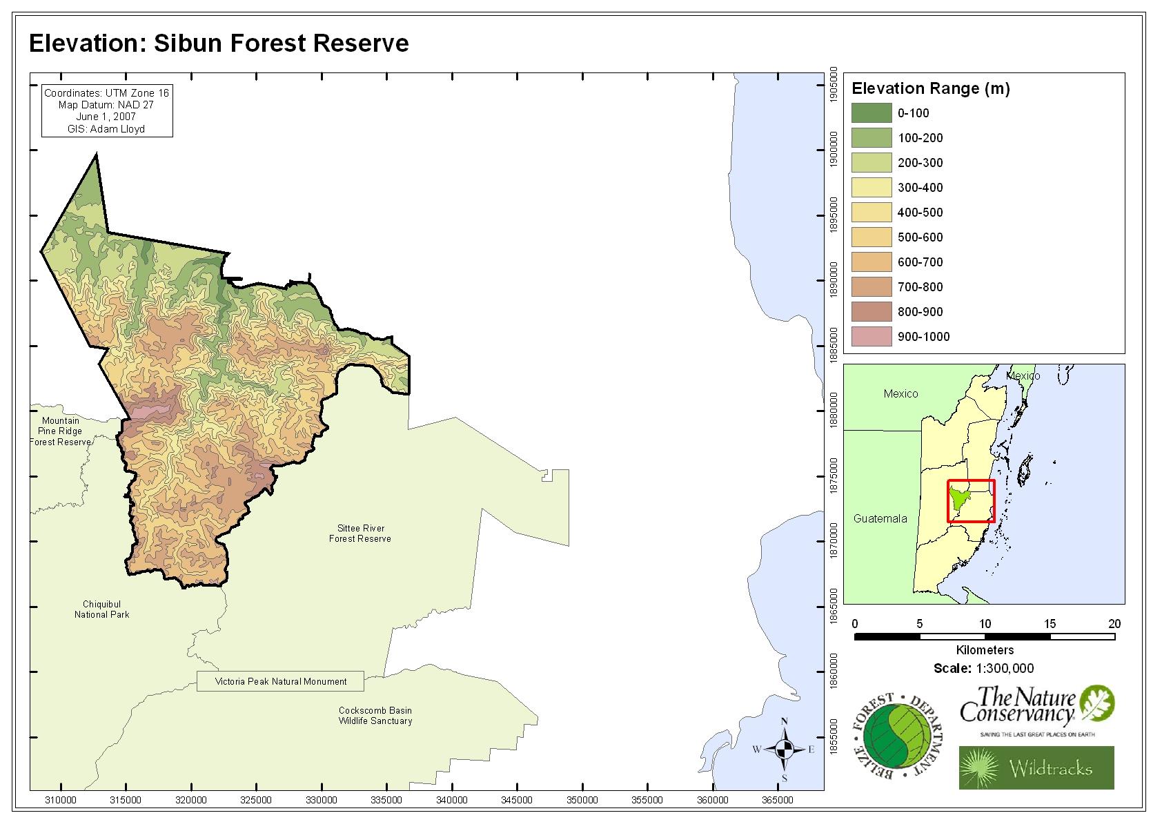 Elevation: Sibun Forest Reserve