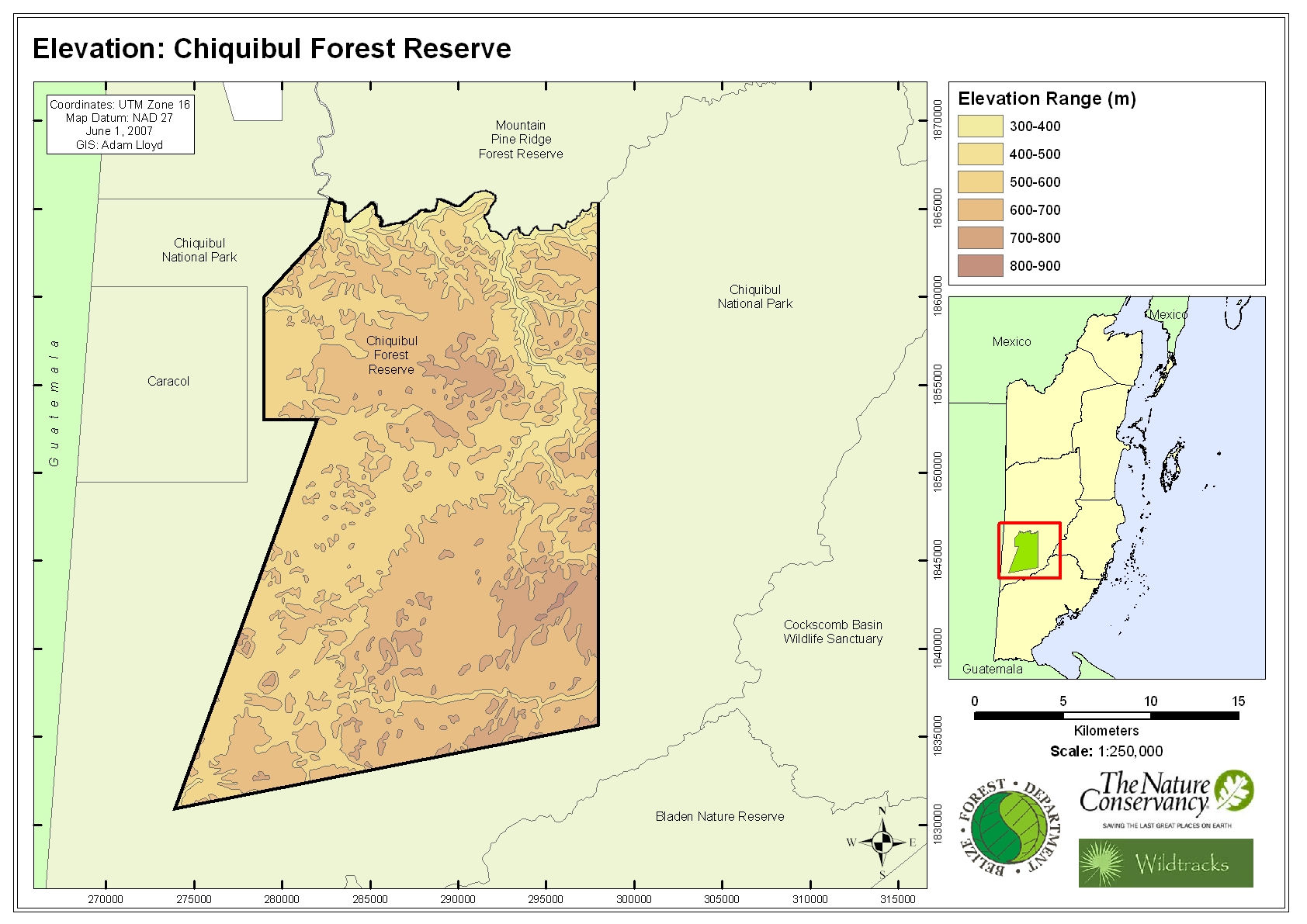 Elevation: Chiquibul Forest Reserve