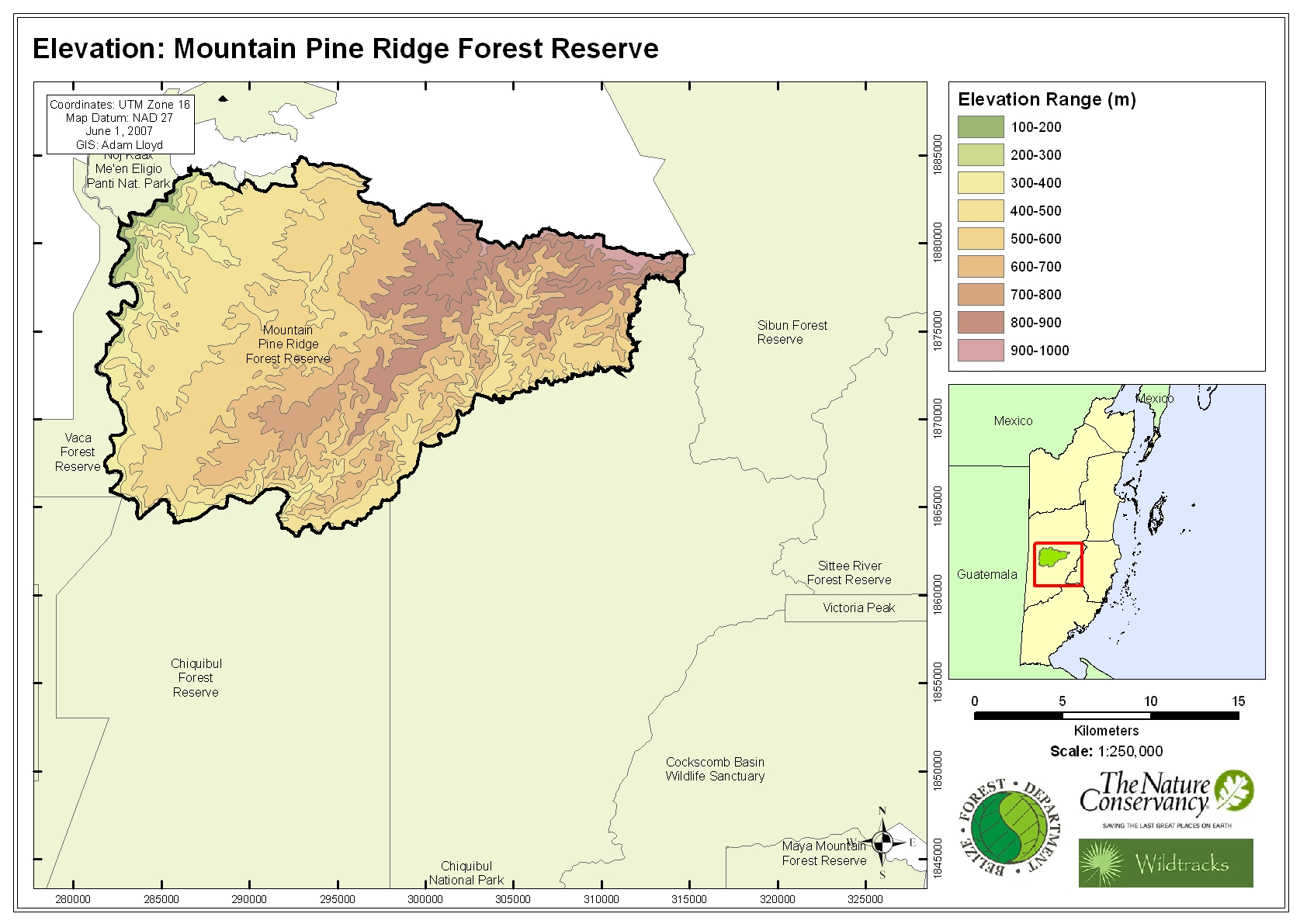 Elevation: Mountain Pine Ridge Forest Reserve