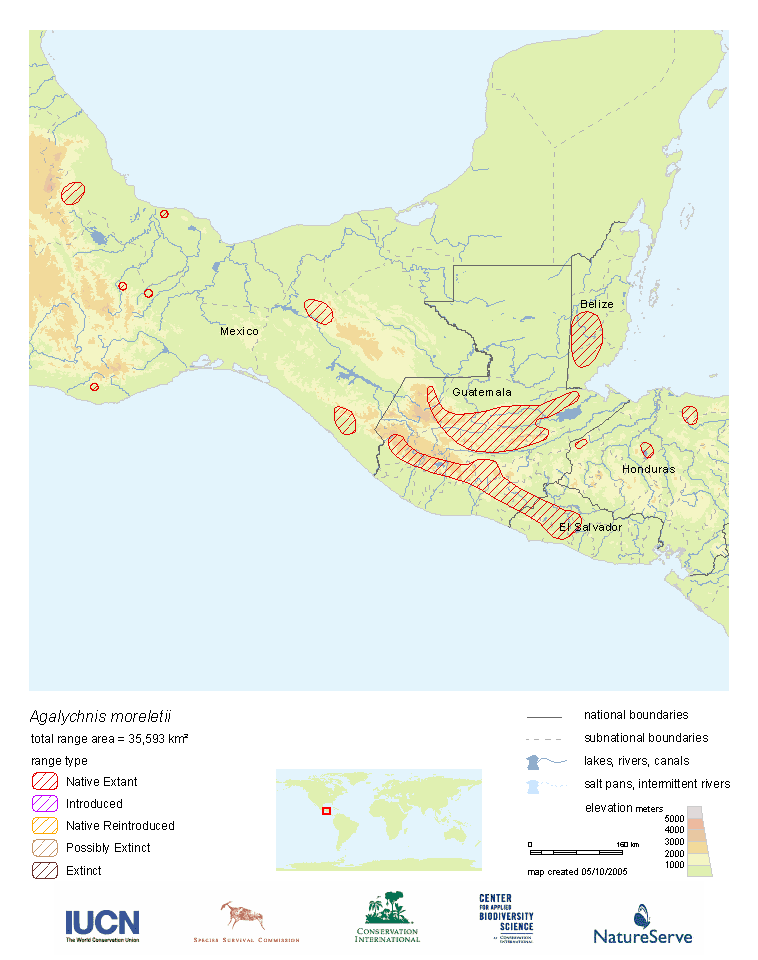 Range Map: Agalychnis moreletii