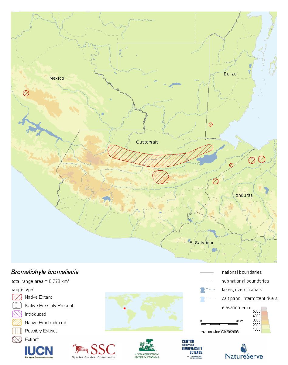 Range Map: Bromeliohyla bromeliacia