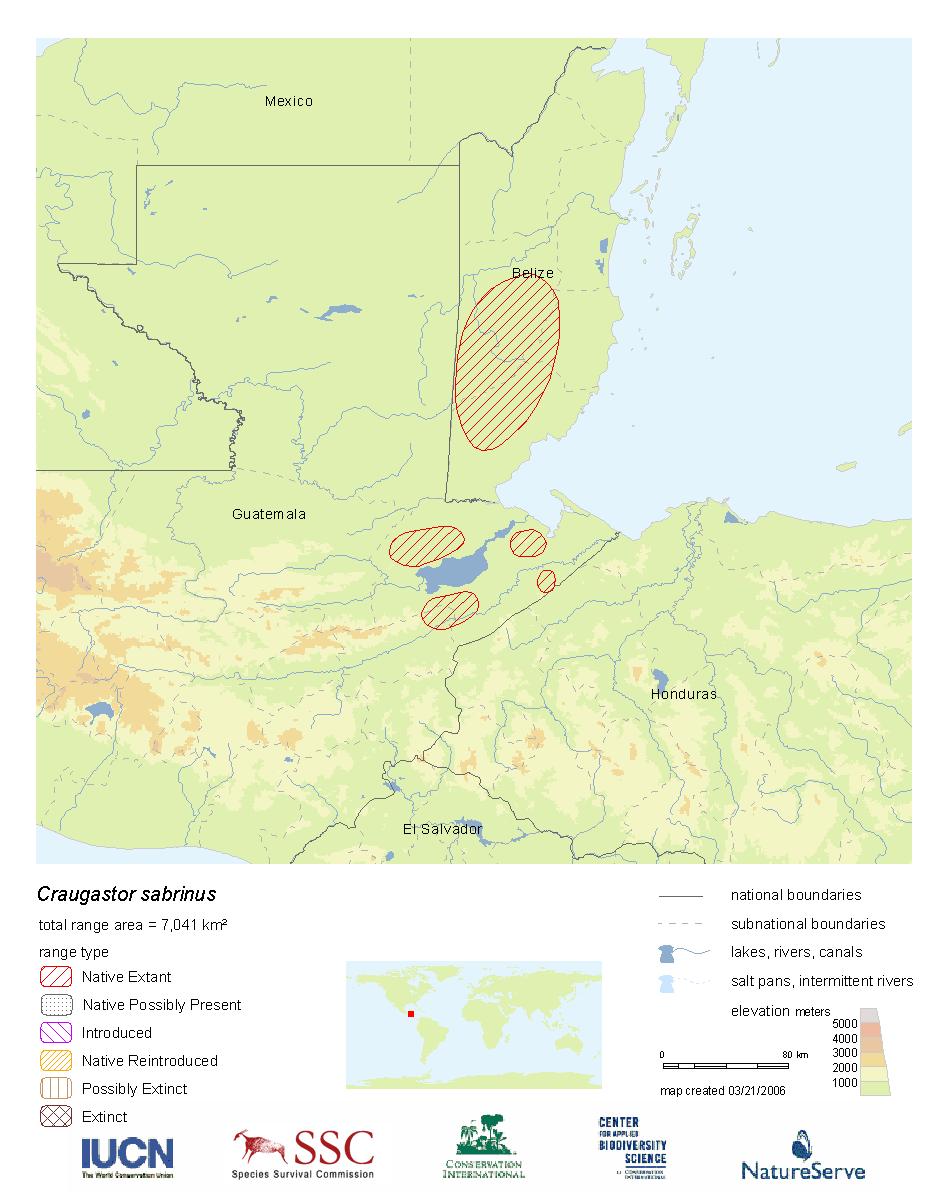 Range Map: Craugastor sabrinus