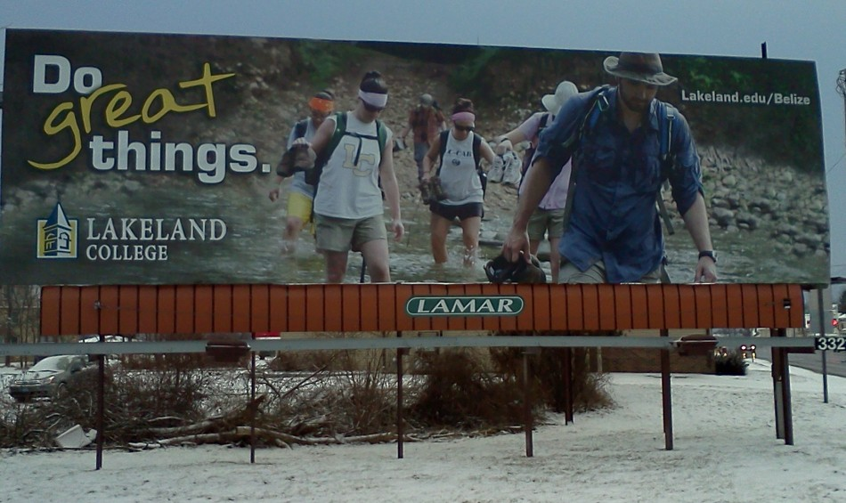 Lakeland College, Wisconsin featured a photo taken at BFREE on a community billboard. Photo by Paul Pickhardt.