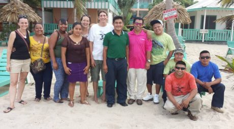 BFREE staff stand on the beach in Placencia as they kick off their annual staff retreat. Pictured from left to right: Heather, Isabel, Nelly, Maya, Tyler, Jacob, Estaban, Tom, Thomas, Pedro, Elmer, Canti