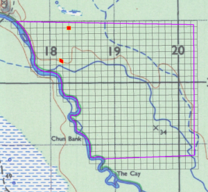 BFREE map (property outline in purple) with location of trapping grids indicated in red. Cacao grid is located approximately 0.5 km north of the forest grid.