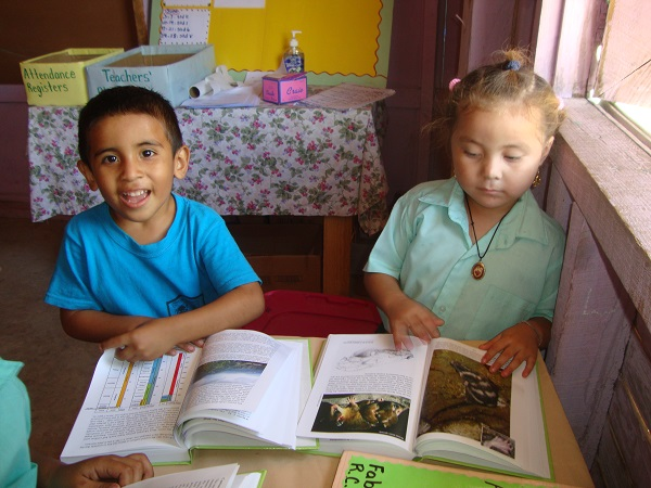 "Schoolkids at Bladen Village School look through ""Biodiversity of the Bladen,"" books that were donated by BFREE and the Doursons in 2013."