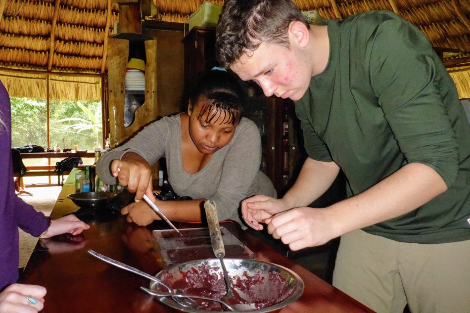 hand-making chocolate