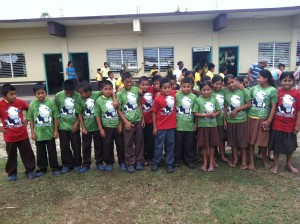 After their visit to Belize Zoo, Golden Stream students received Harpy Eagle shirts.
